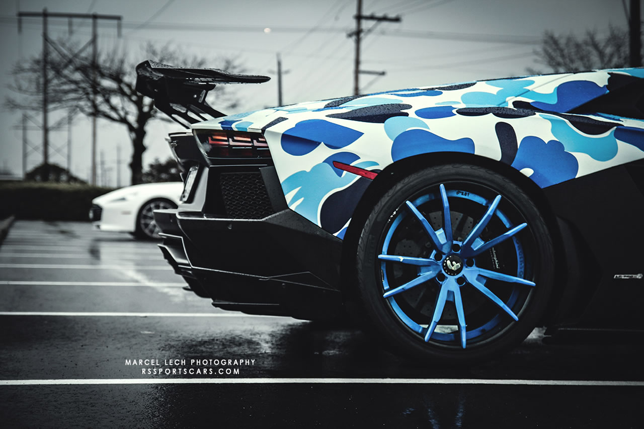 2013 Lamborghini Aventador Bape Arctic Camo By Liberty Walk Detail Photo Rear Wing Forgiato