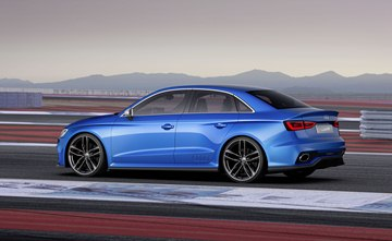 The Magnetic Blue body immediately reveals the dynamics of the Audi A3 clubsport 
