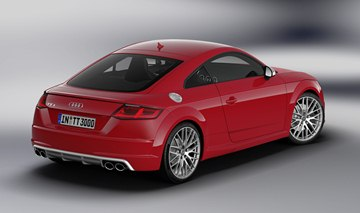 The 2015 Audi TTS in Tango Red color.