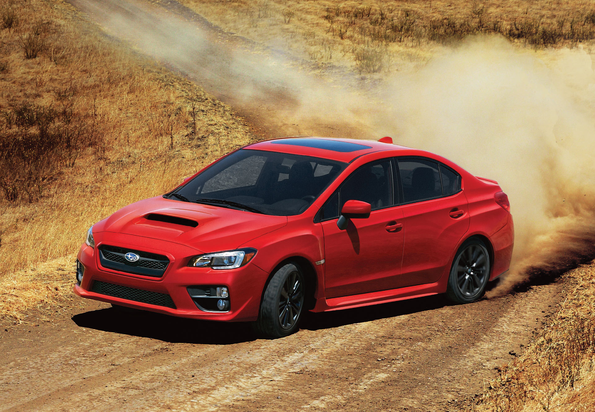 2015 Subaru Wrx Front Photo Red Color Drifting On