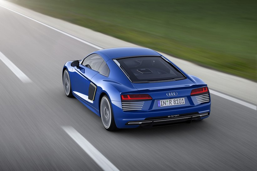 2016 Audi R8 etron, rear photo, blue exterior paint, size 2048 x 1365