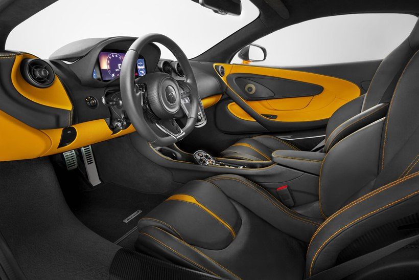 interior, black seats, orange accents