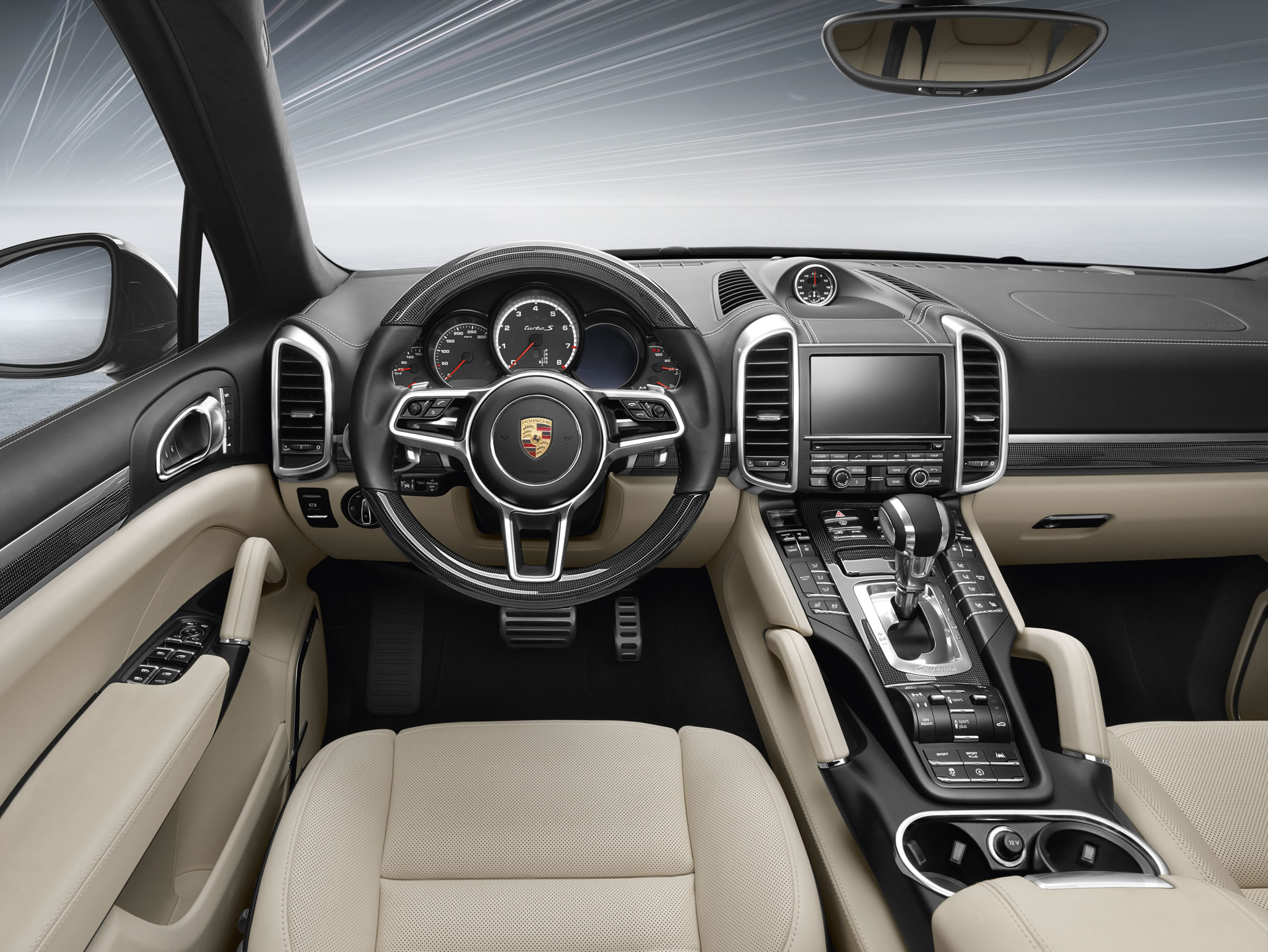 2016 Porsche Cayenne Turbo S Interior Photo Black Creme