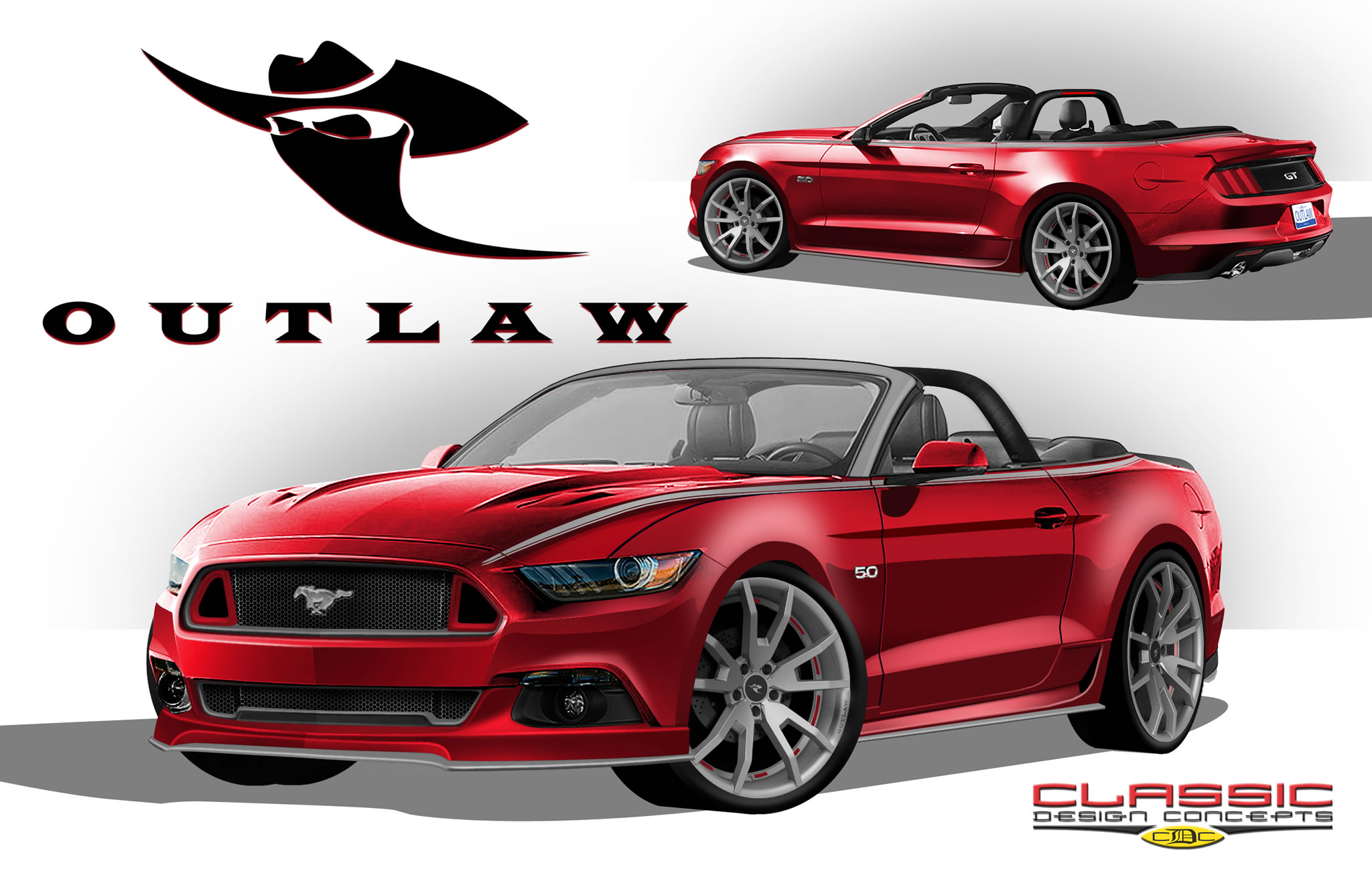 Customized Ford Mustangs at 2014 SEMA - front photo, Classic Design Customs, size 2048 x 1325