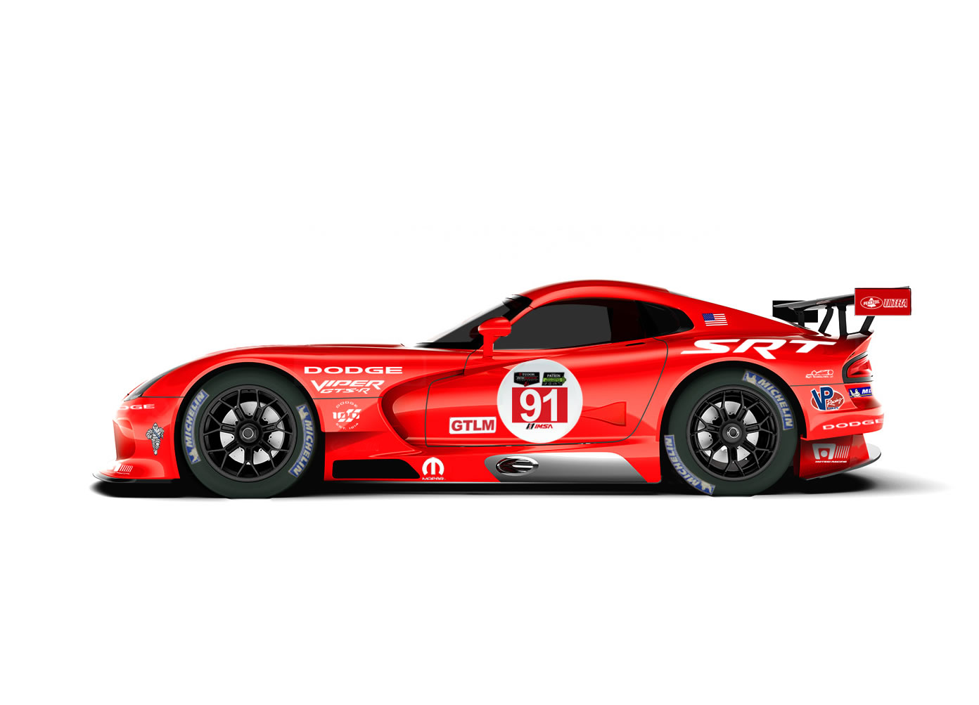 2014 Dodge Viper Srt Gts R Race Car Side Photo Red And