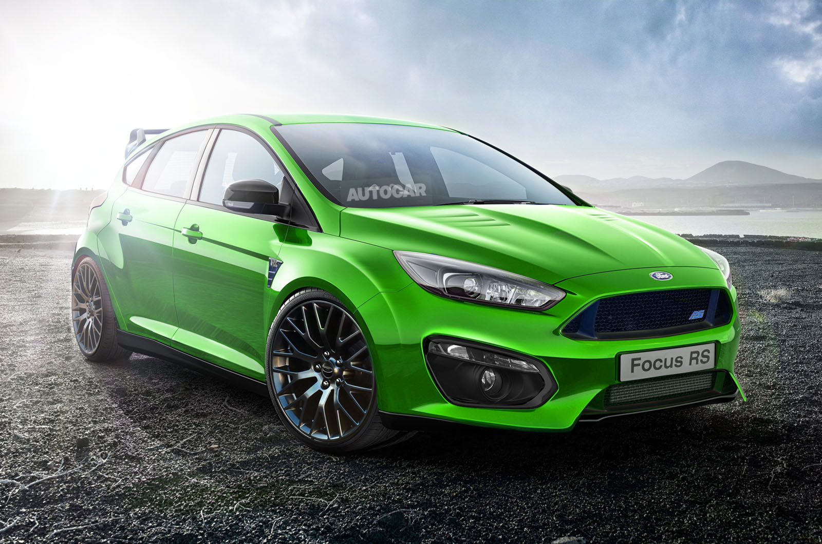 rendering 2017 ford focus rs front photo green color. Black Bedroom Furniture Sets. Home Design Ideas