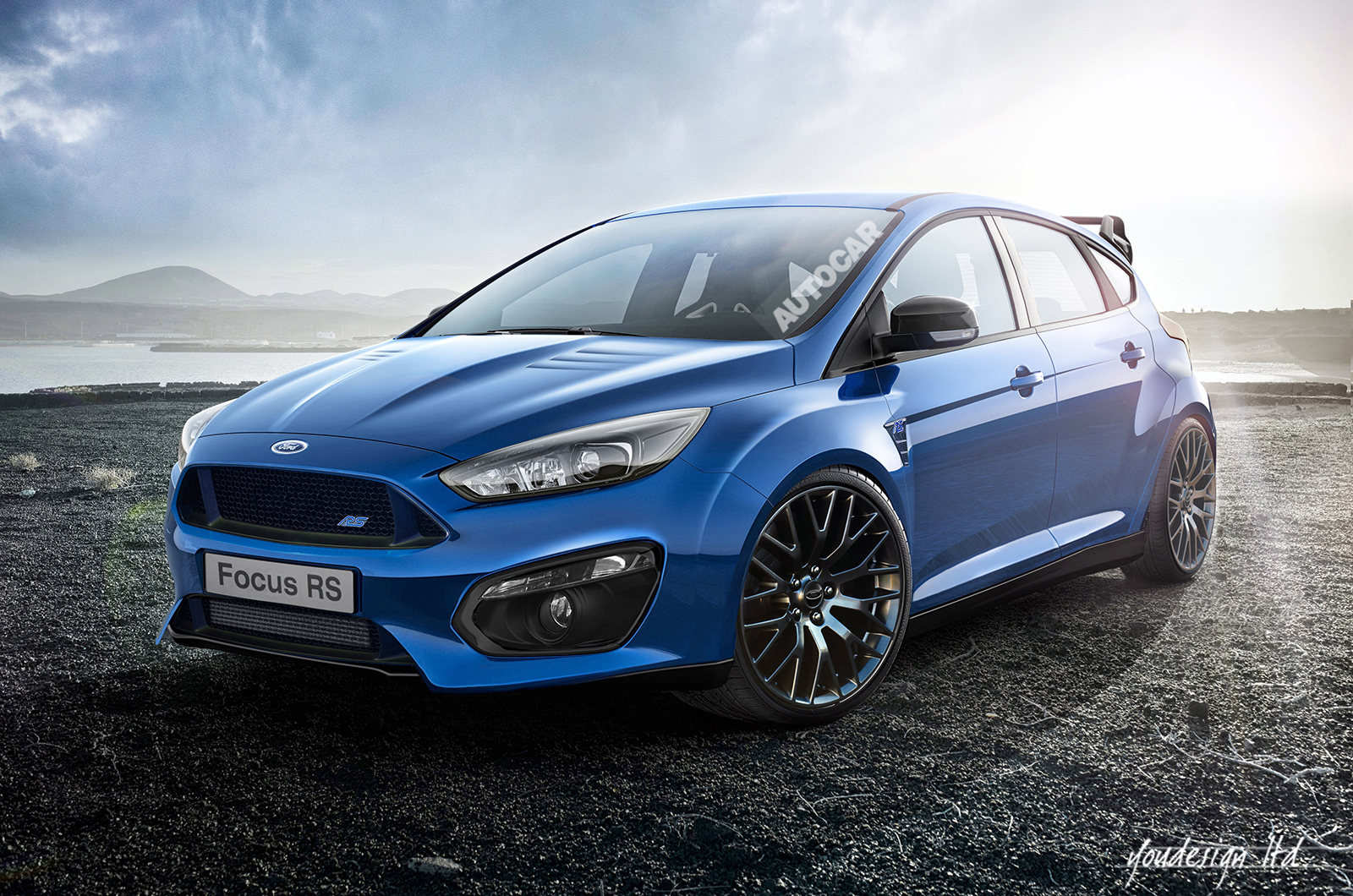 rendering 2017 ford focus rs front photo blue color. Black Bedroom Furniture Sets. Home Design Ideas