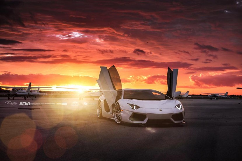 White Lamborghini Aventador with ADV005 Track Spec SL Wheels - front photo, sunset, size 1024 x ...