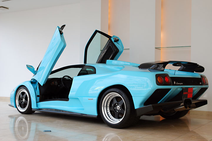 Lamborghini Diablo Gt Rear Photo Ice Blue Paint Size 720 X 482