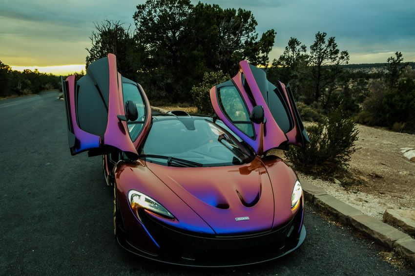 mclaren p1 in polychromatic cerberus pearl color front