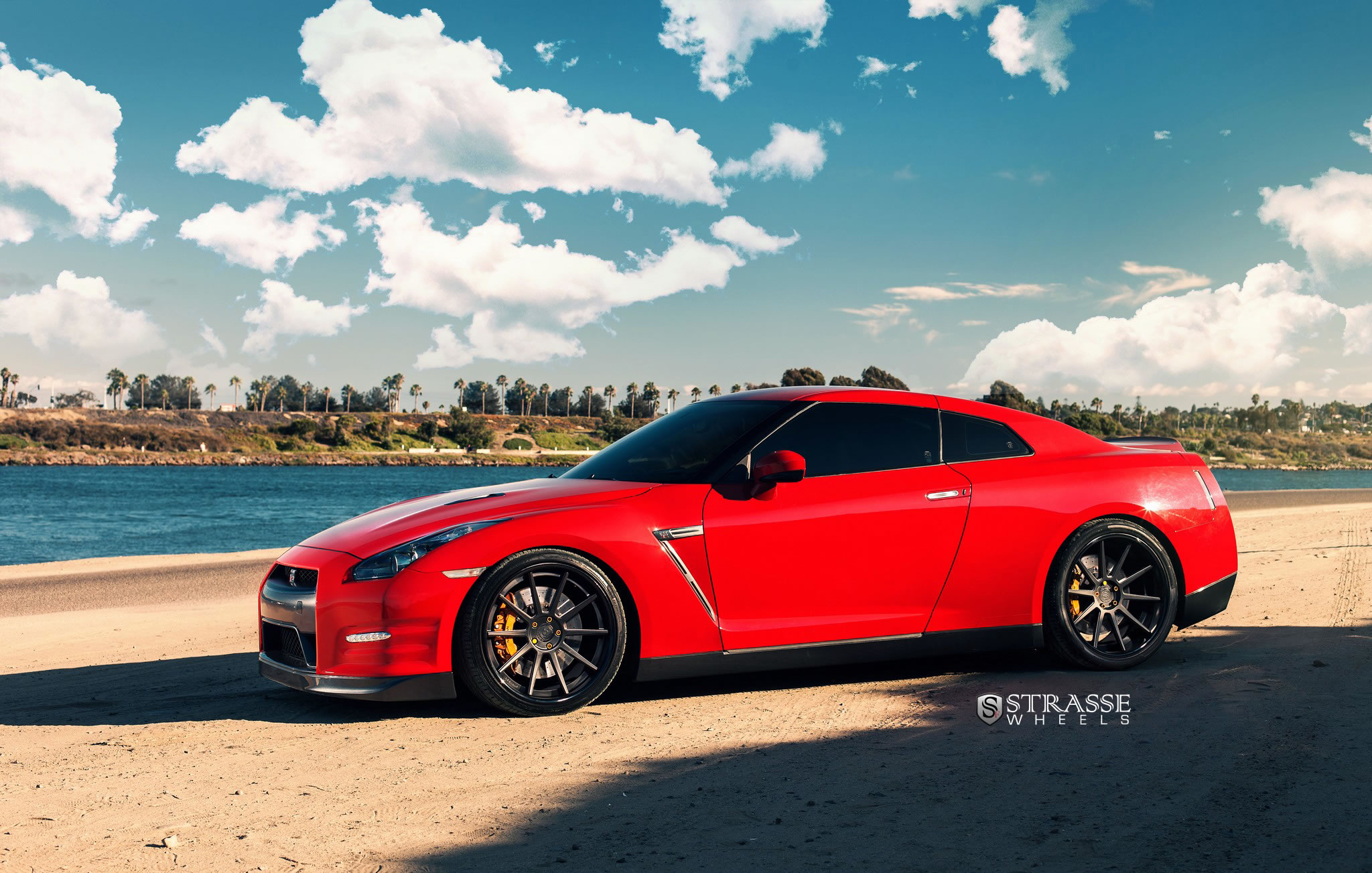 Nissan Gt R With Strasse Wheels Side Photo Vibrant Red