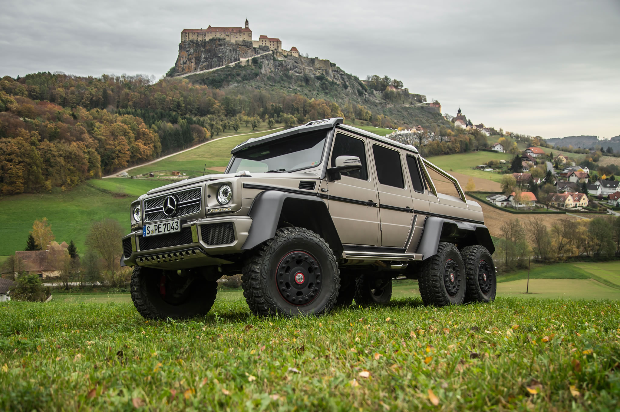 2014 mercedes benz g63 amg 6x6 german plate front view monastery in background. Black Bedroom Furniture Sets. Home Design Ideas