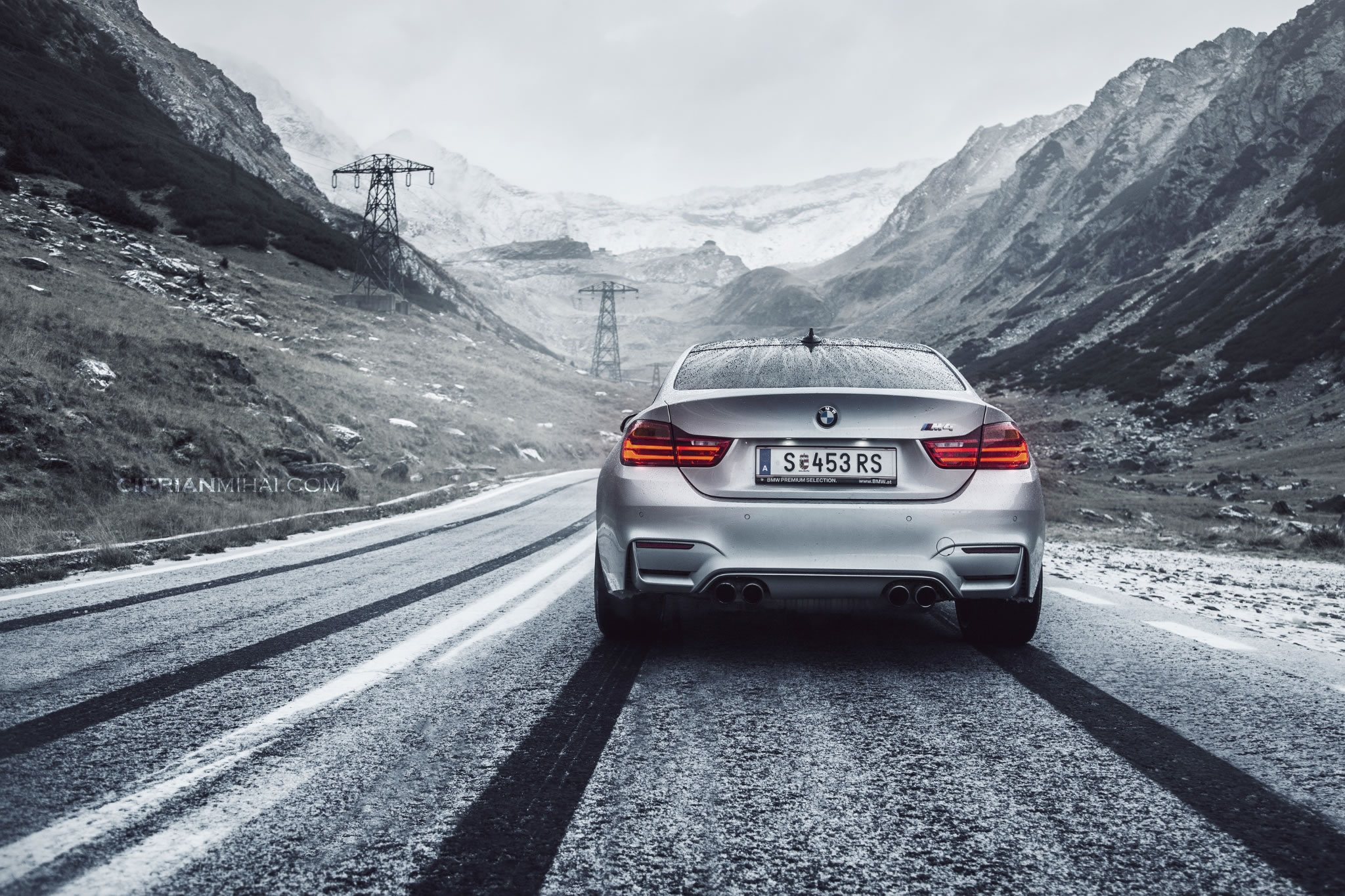 2015 BMW M4 Coupe Silver Paint Snow Tracks Mountains