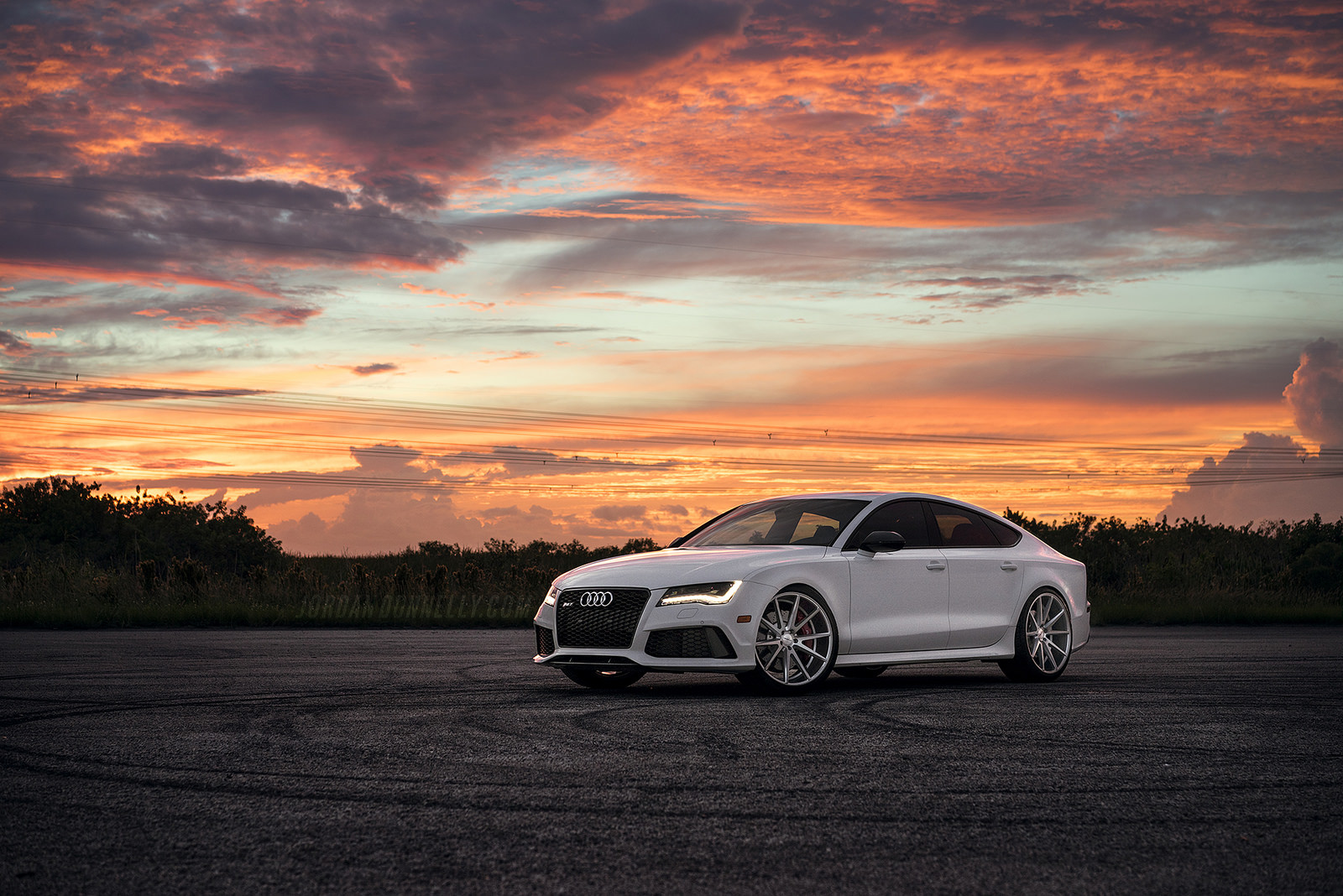 Audi RS Sunset SlammeredIncs Calendar White Color Front - Sunset audi