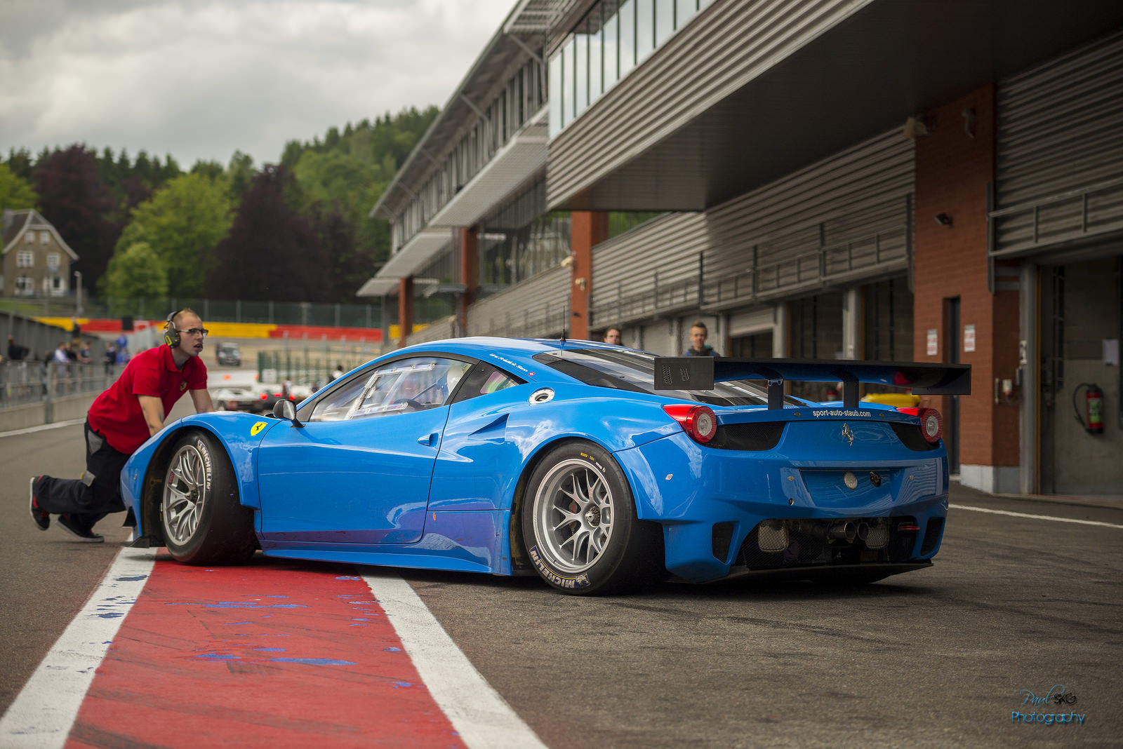 Blue Ferrari 458 Gt3 Rear Three Quarters In Pits Rssportscars Com