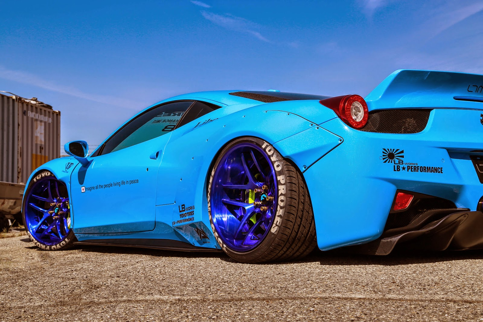ferrari 458 italia by liberty walk blue color rear view toyo tires forgiato wheels. Black Bedroom Furniture Sets. Home Design Ideas