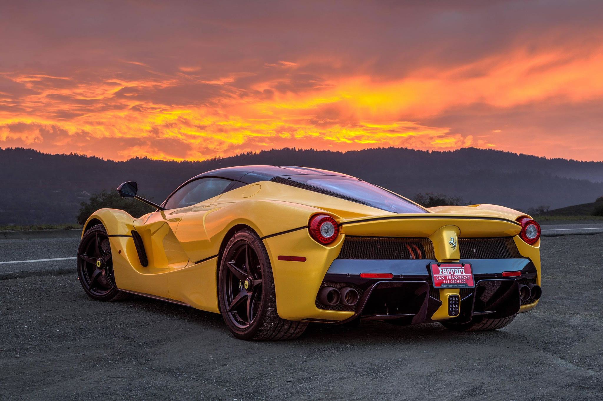 Mercedes San Francisco >> Giallo Modena Ferrari LaFerrari - yellow color, sunset, rear view, Ferrari San Francisco ...