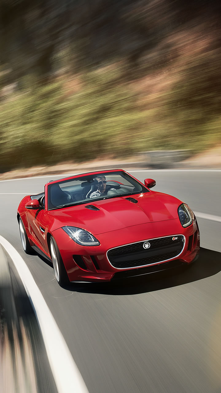 2014 jaguar f type v8 s wallpaper 720 x 1280 driving scene winding road red color. Black Bedroom Furniture Sets. Home Design Ideas