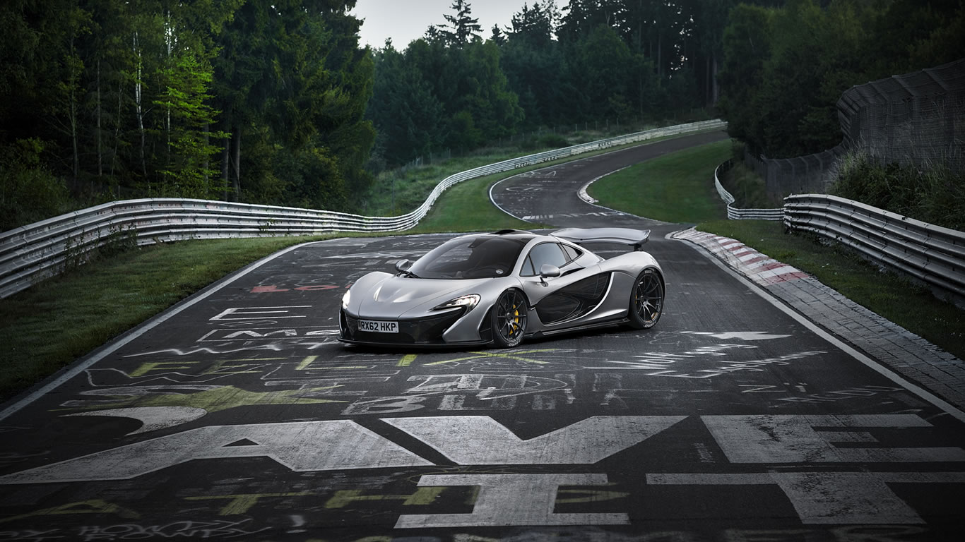 2014 McLaren P1 on Nurburgring Nordschleife Wallpaper - 1366 x 768