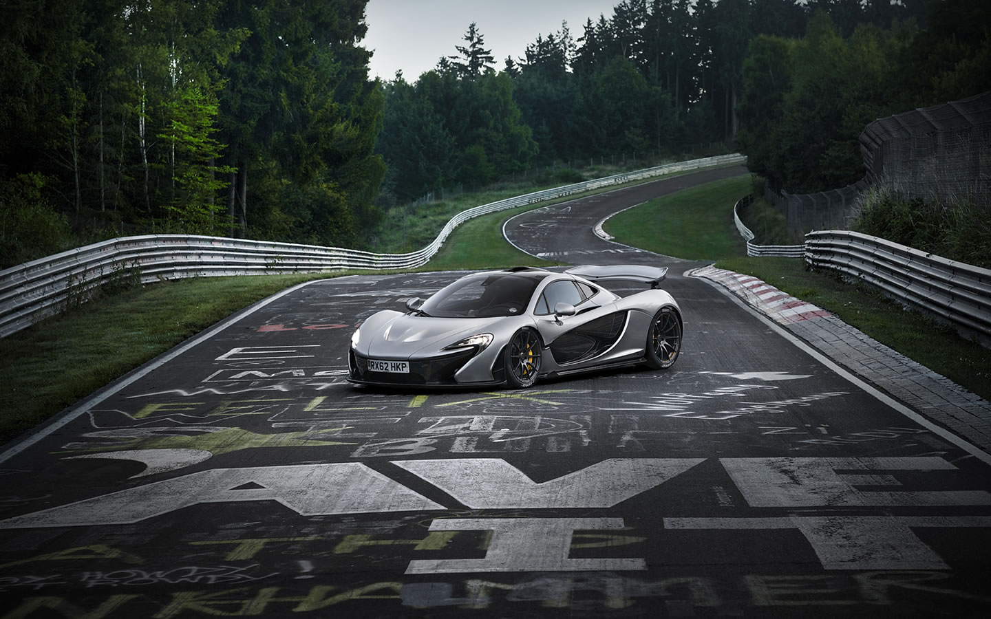 2014 McLaren P1 on Nurburgring Nordschleife Wallpaper - 1440 x 900